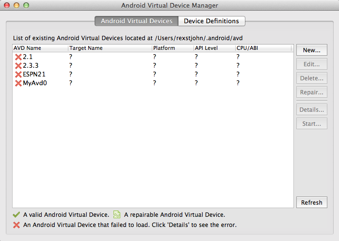 Adding A New Android AVD Emulator